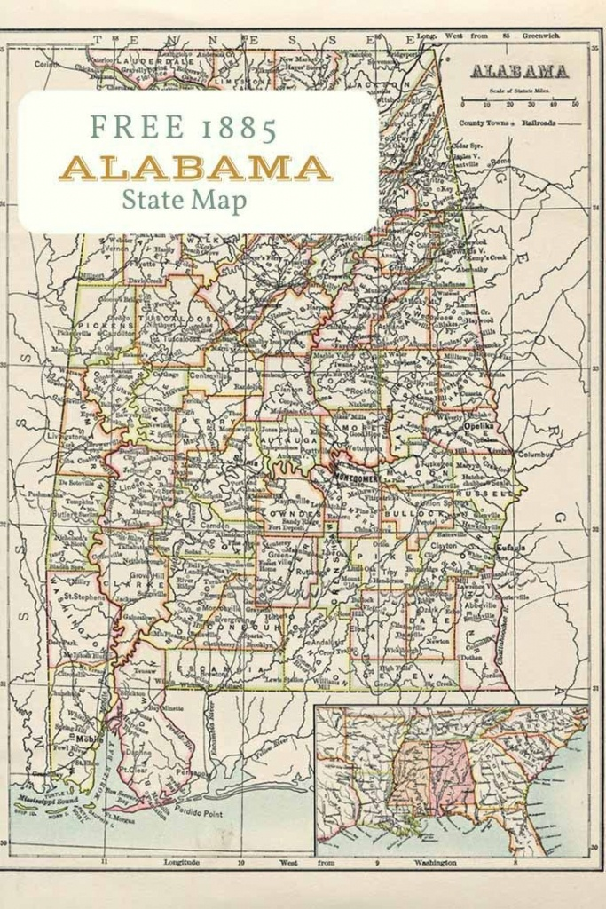 Free Printable Old Map Of Alabama From 1885. #map #usa | Maps And - Alabama State Map Printable