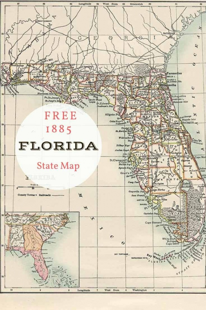 Free Printable Old Map Of Florida From 1885. #map #usa   Maps And - Old Florida Map