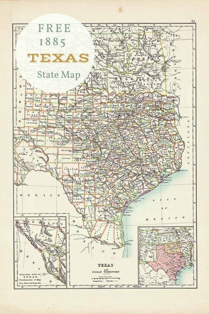 Free Printable Old Map Of Texas From 1885. #map #usa | Free - Free Old Maps Of Texas