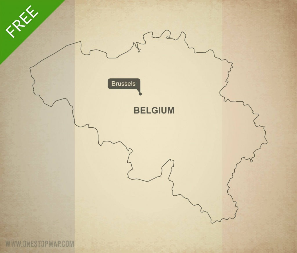 Free Vector Map Of Belgium Outline | One Stop Map - Printable Map Of Belgium