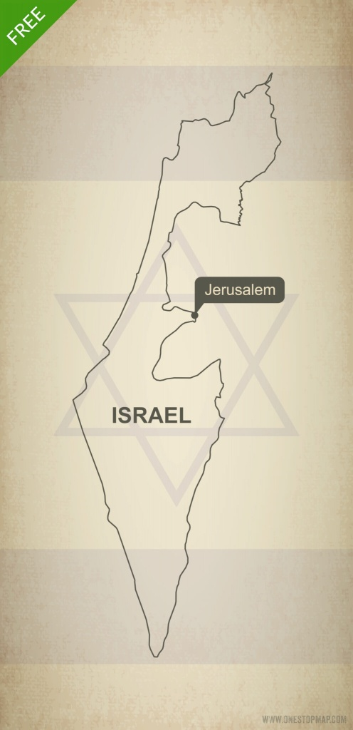 Free Vector Map Of Israel Outline | One Stop Map - Israel Outline Map Printable