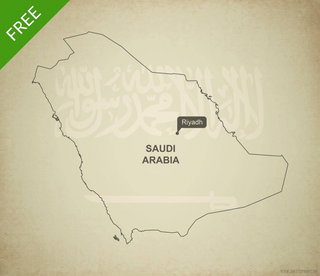 Free Vector Map Of Saudi Arabia Outline | One Stop Map - Printable Map Of Saudi Arabia