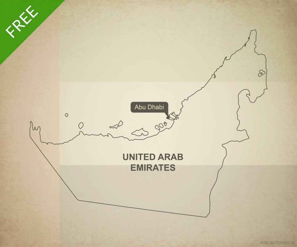 Free Vector Map Of United Arab Emirates   One Stop Map - Outline Map Of Uae Printable