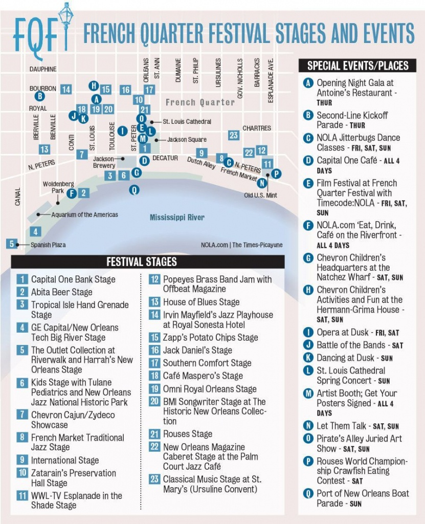 French Quarter Festival Map - Google Search | New Orleans | French - Printable French Quarter Map