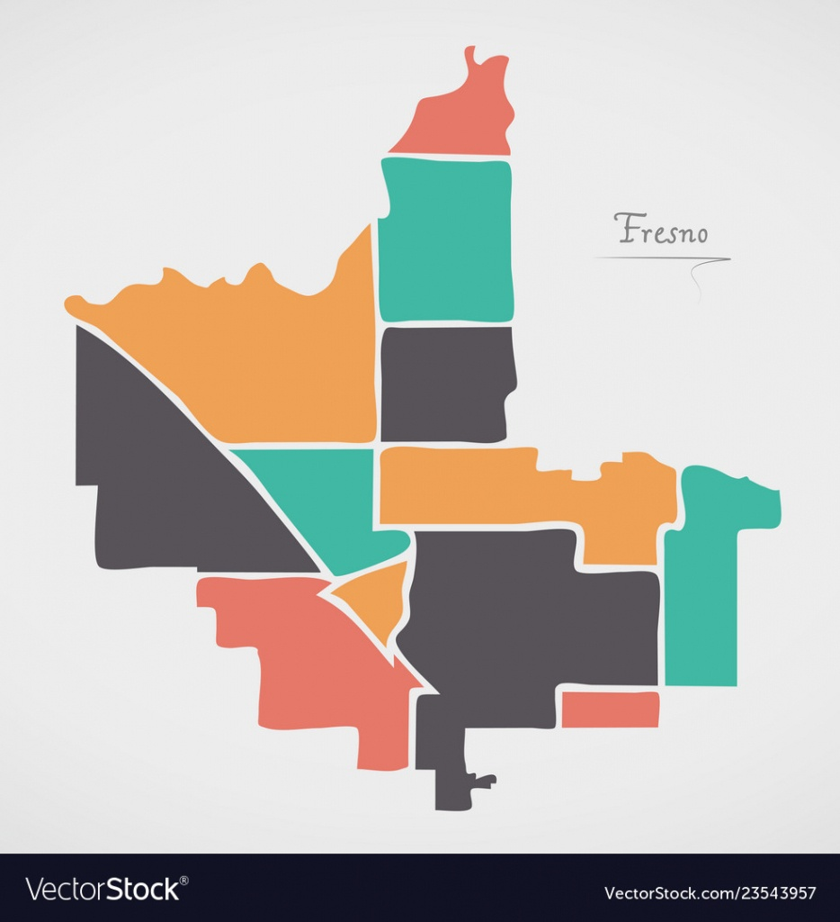 Fresno California Map With Neighborhoods And Vector Image - Fresno California Map
