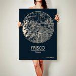 Frisco Texas Canvas Map Frisco Texas Poster City Map Frisco | Etsy   Texas Map Canvas
