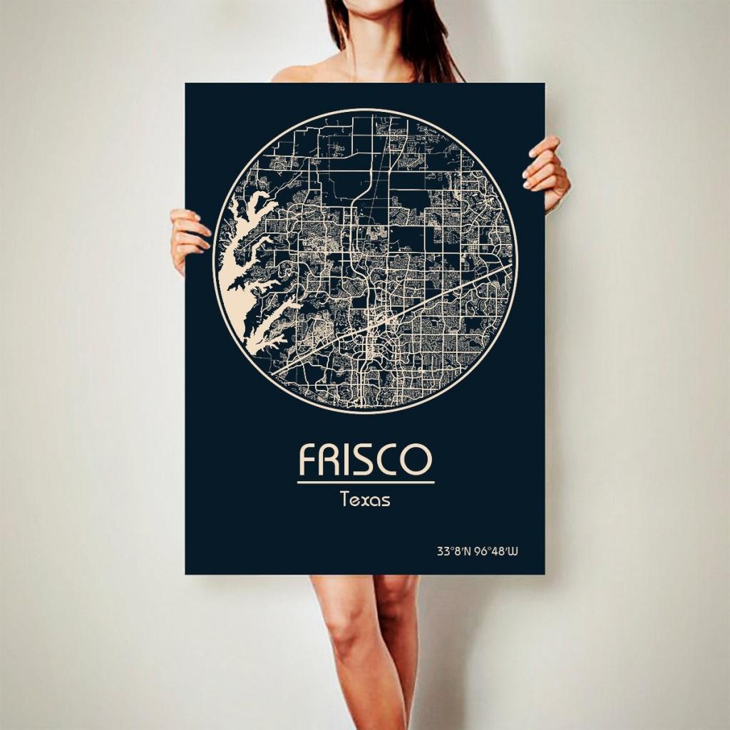 Frisco Texas Canvas Map Frisco Texas Poster City Map Frisco | Etsy - Texas Map Canvas