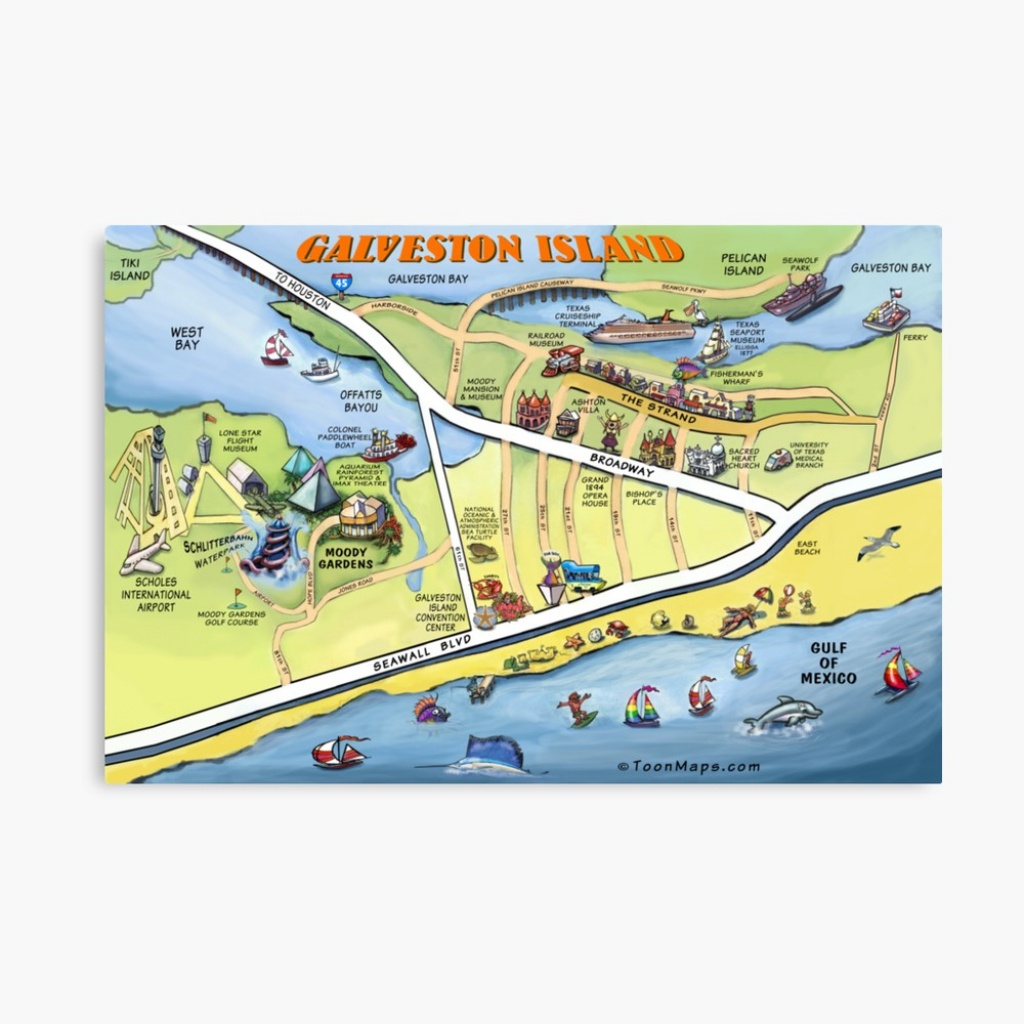 "Galveston Texas Cartoon Map"" Canvas Printkevinmiddleton | Redbubble - Map Of Galveston Texas"