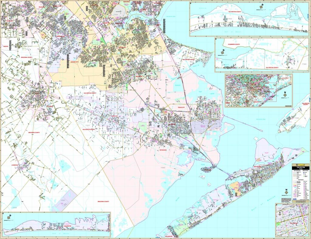 Galveston, Tx Wall Map - Maps - Map Of Galveston Texas