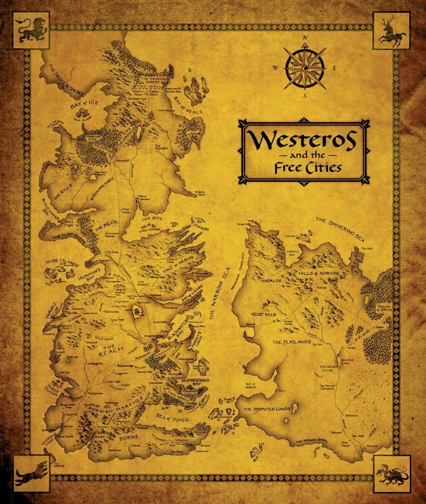 Game Of Thrones Map - Westeros And The Free Cities | N E R D O U T - Printable Map Of Westeros