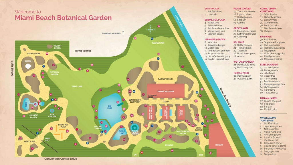 Garden Map | Miami Beach Botanical Garden - Florida Botanical Gardens Tourist Map
