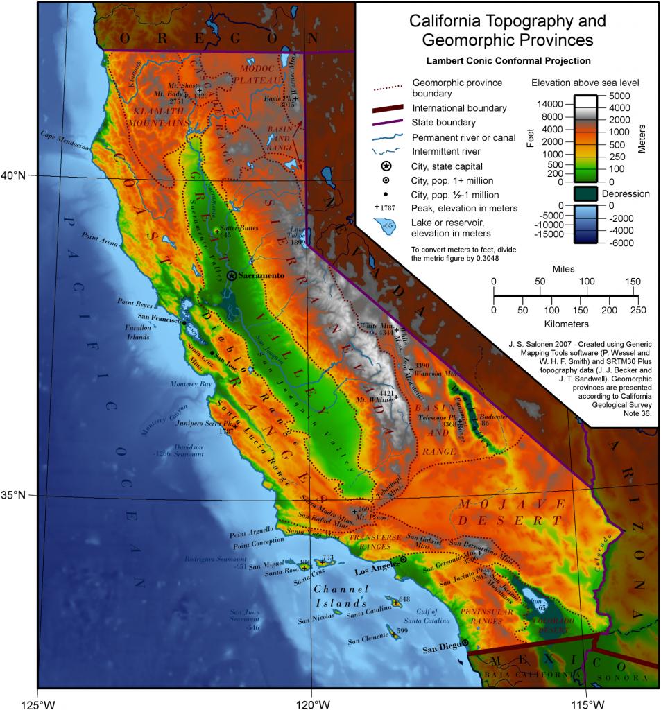 Geography Of California - Wikipedia - California Landforms Map