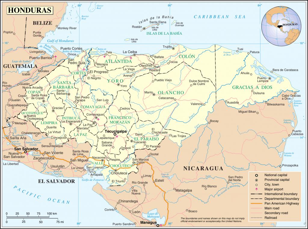 Geography Of Honduras - Wikipedia - Printable Map Of Honduras