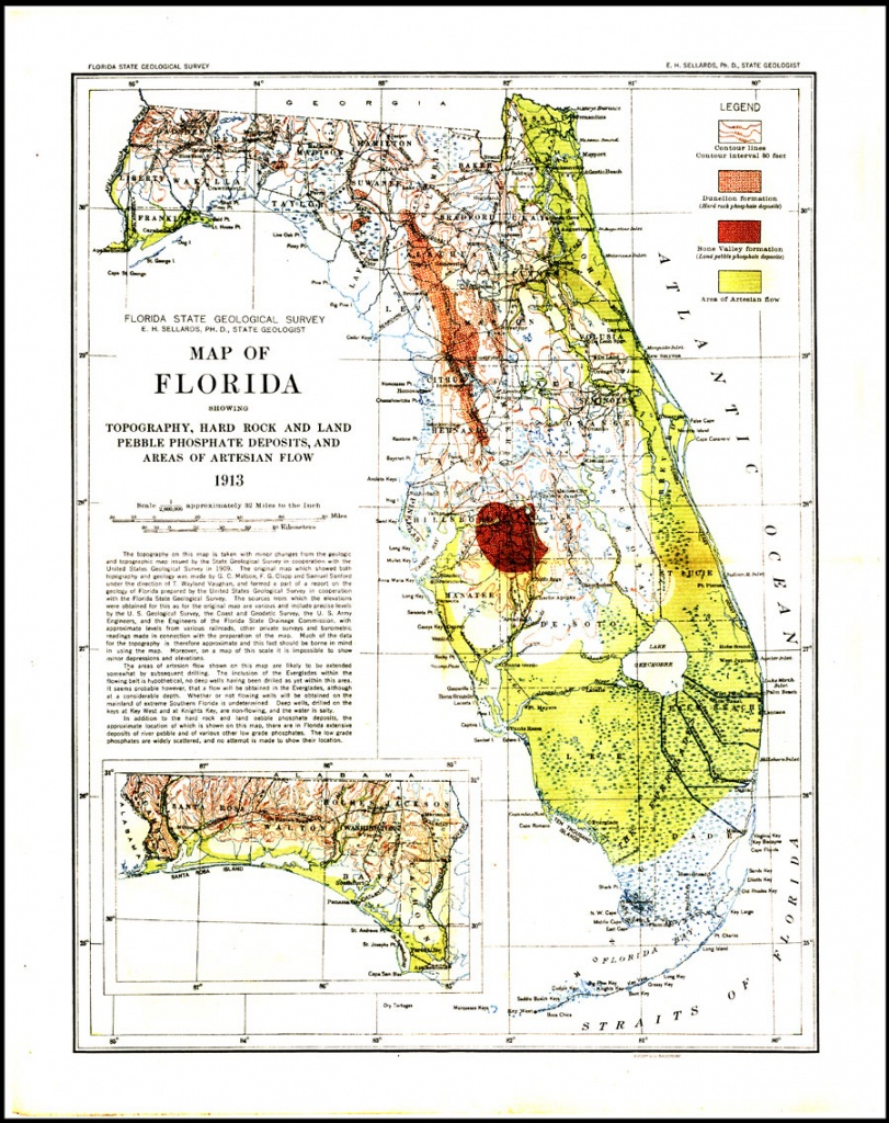 Geological Map Of Florida, 1913 - I Want A Map Of Florida