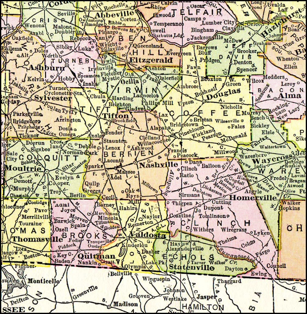Georgia & Florida Railroad, 1916 Map, Madison, Fl - Hazlehurst - Map Of Georgia And Florida