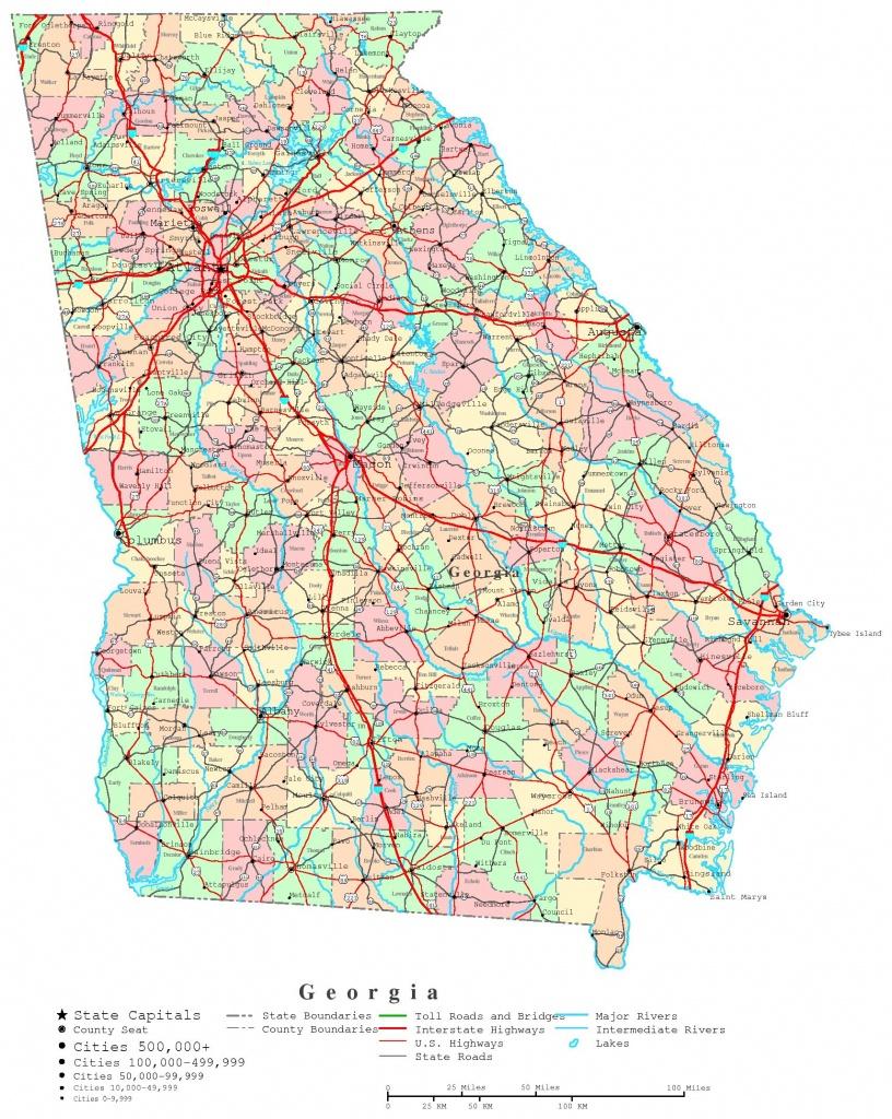 Georgia Printable Map - Georgia State Map Printable