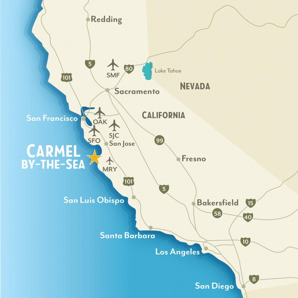 Getting To & Around Carmel-By-The-Sea, California - Monterey Beach California Map