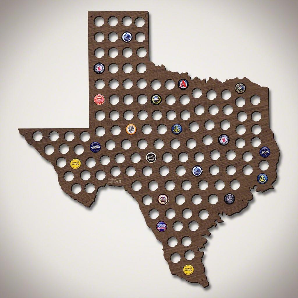 Giant Xl Texas Beer Cap Map - Texas Beer Cap Map