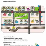 Give And Follow Directions On A Map Worksheet - Free Esl Printable - Printable Map Directions