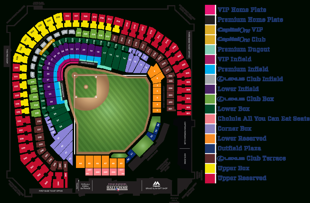 Globe Life Park Seating Map | Mlb | Random Things I'd Want To - Texas Rangers Season Ticket Parking Map