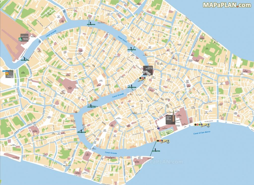Gondola Ferries Traghetto Bridges On Grand Canal Venice Top Tourist - Venice City Map Printable