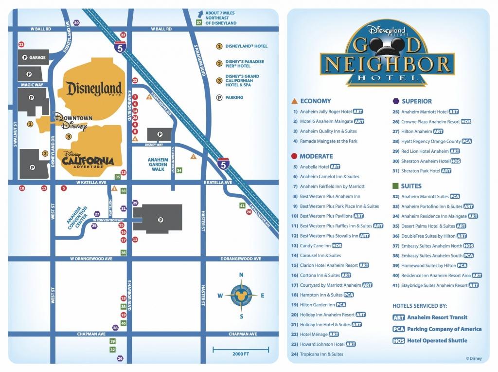 Good Neighbor Hotels Map   Disneyland Resort/hotel Maps-Great For - Map Of Hotels Around Disneyland California
