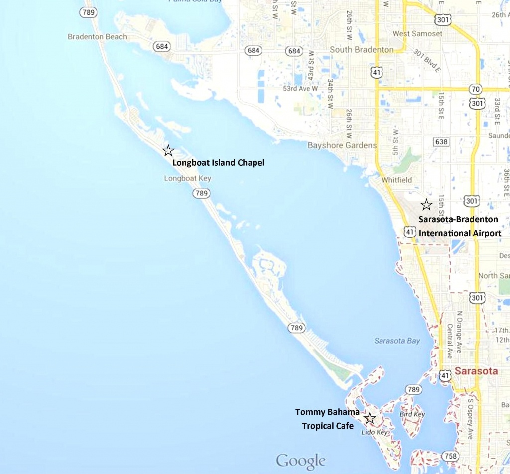 Google Map - Sarasota, Lido Key, Longboat Key, And Anna Maria Island - Casey Key Florida Map