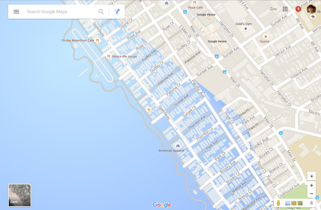 Google Maps Now Showing Southern California Coastal Cities Drowned - California Sea Level Rise Map