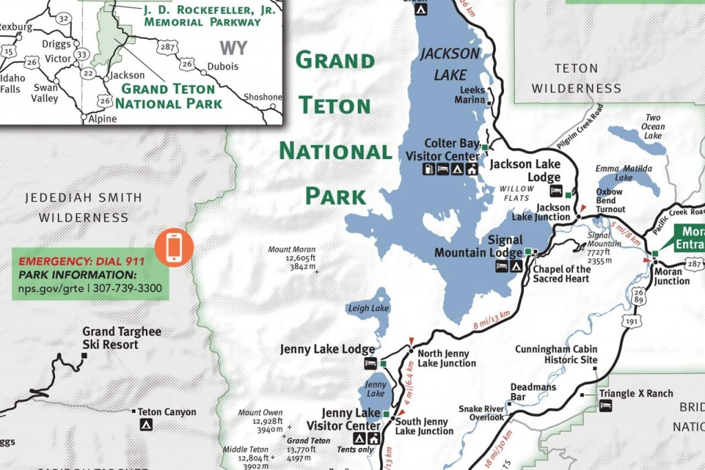 Grand Teton & Yellowstone National Park Map - Jackson Hole Traveler - Printable Map Of Yellowstone