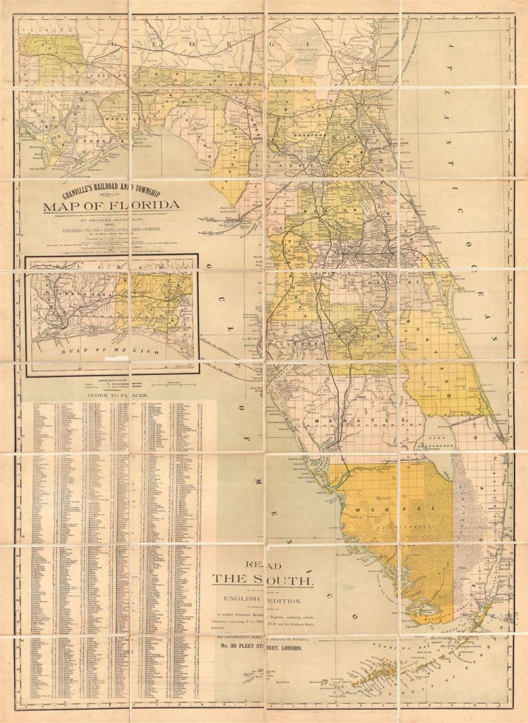 Granville's Railroad And Township Map Of Florida.: Geographicus Rare - Florida Maps For Sale