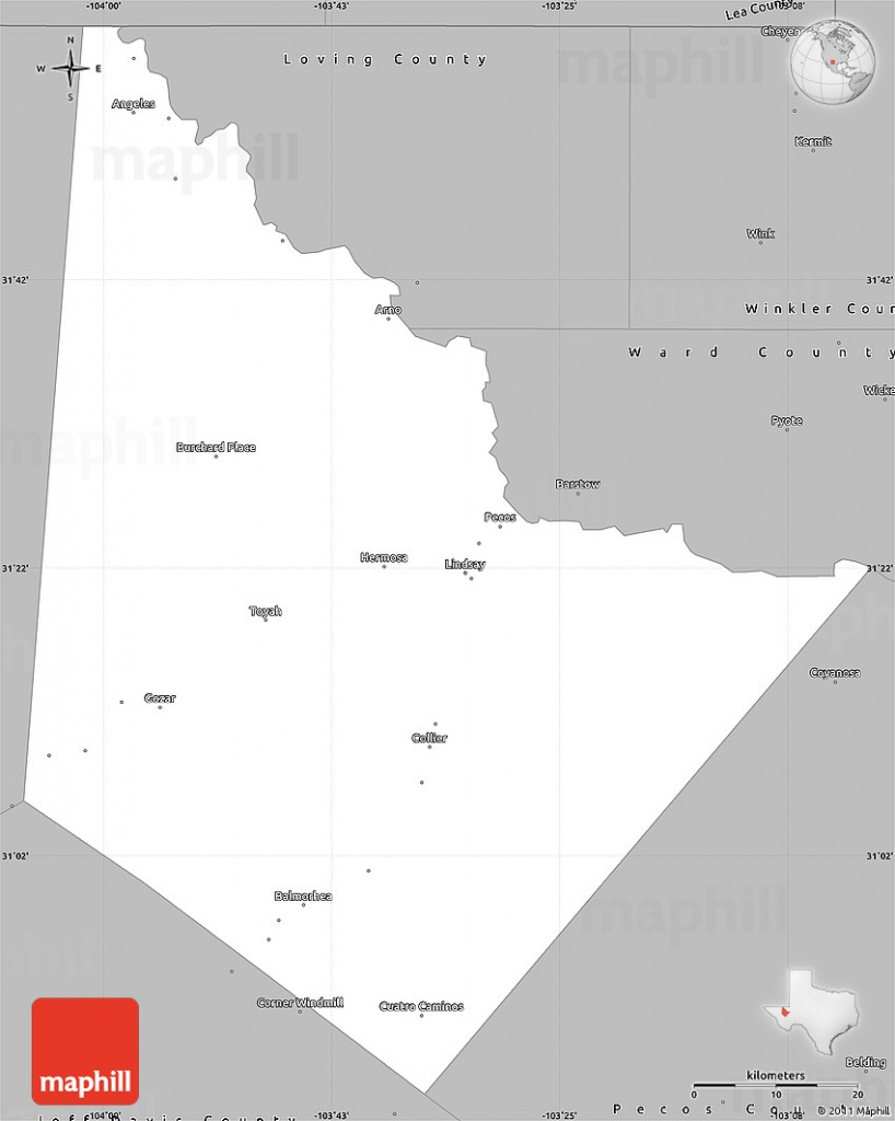 Gray Simple Map Of Reeves County - Reeves County Texas Map