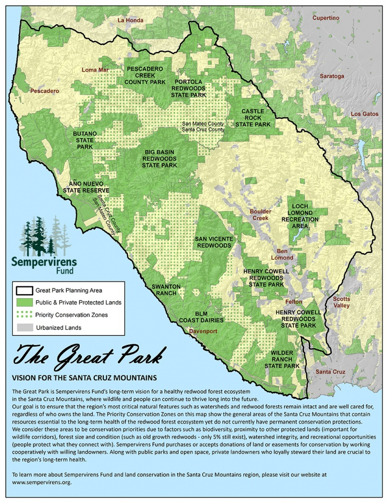 Great Park Map - Santa Cruz Mountains | Sempervirens Fund - Redwood Forest California Map