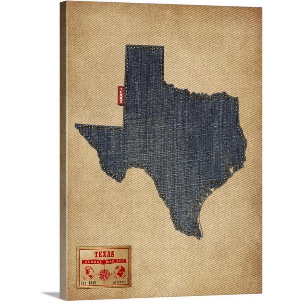 """Greatbigcanvas """"texas Map Denim Jeans Style""""michael Tompsett - Texas Map Canvas"""