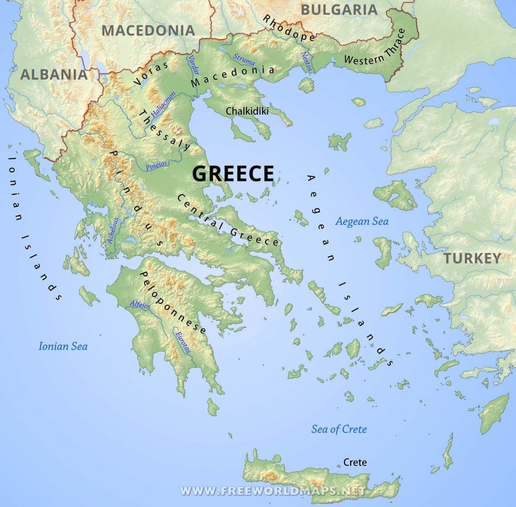 Greece Physical Map - Printable Map Of Greece