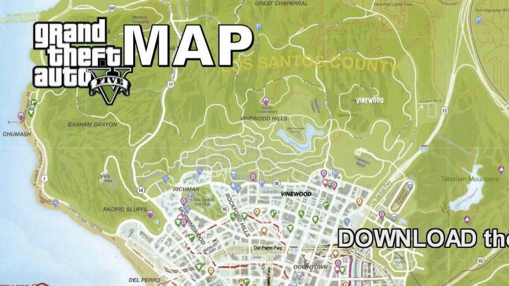 Gta 5 Full Size Game Map - Youtube - Gta 5 Printable Map