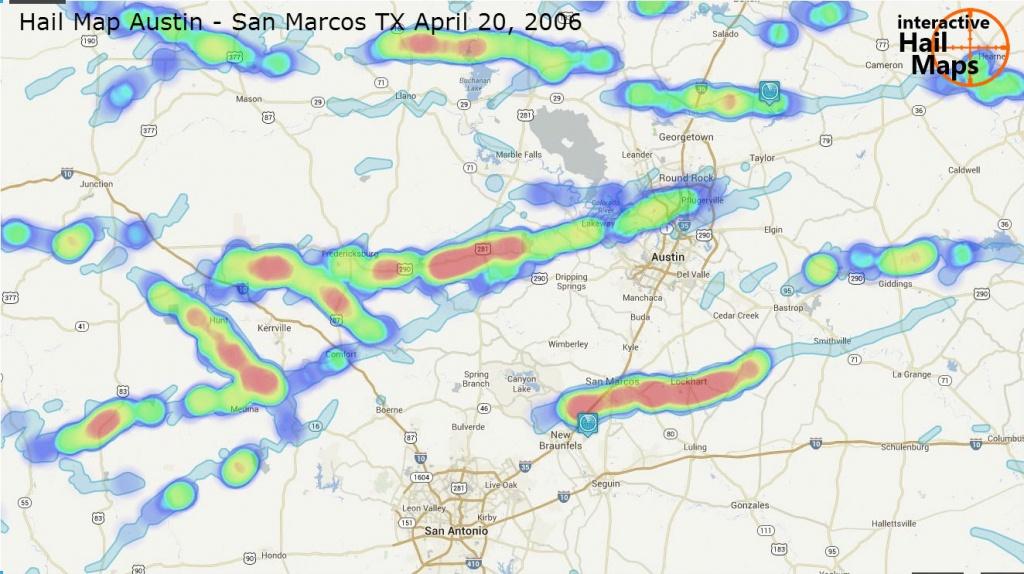 Hail Map Austin - San Marcos, Texas April 20, 2006 - Interactive - Hail Maps Texas