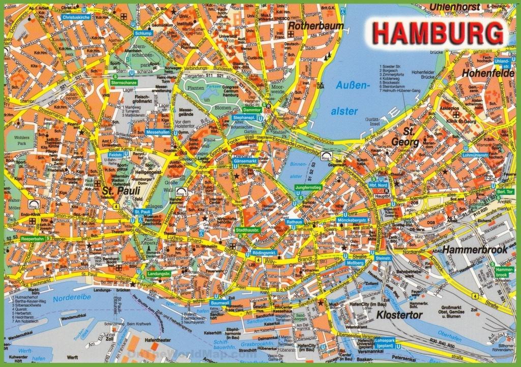 Hamburg Tourist Attractions Map - Printable Map Of Hamburg