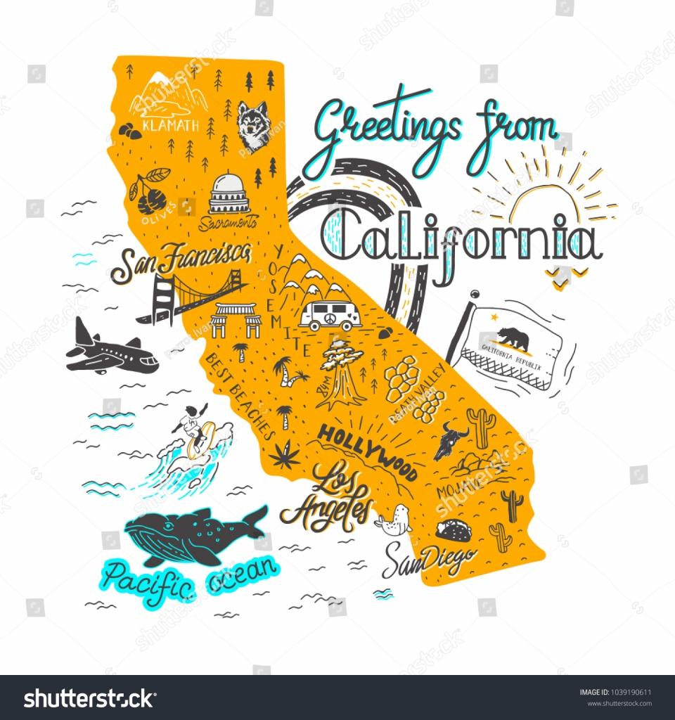 Hand Drawn Illustration California Map Tourist Stock Illustration - California Tourist Attractions Map