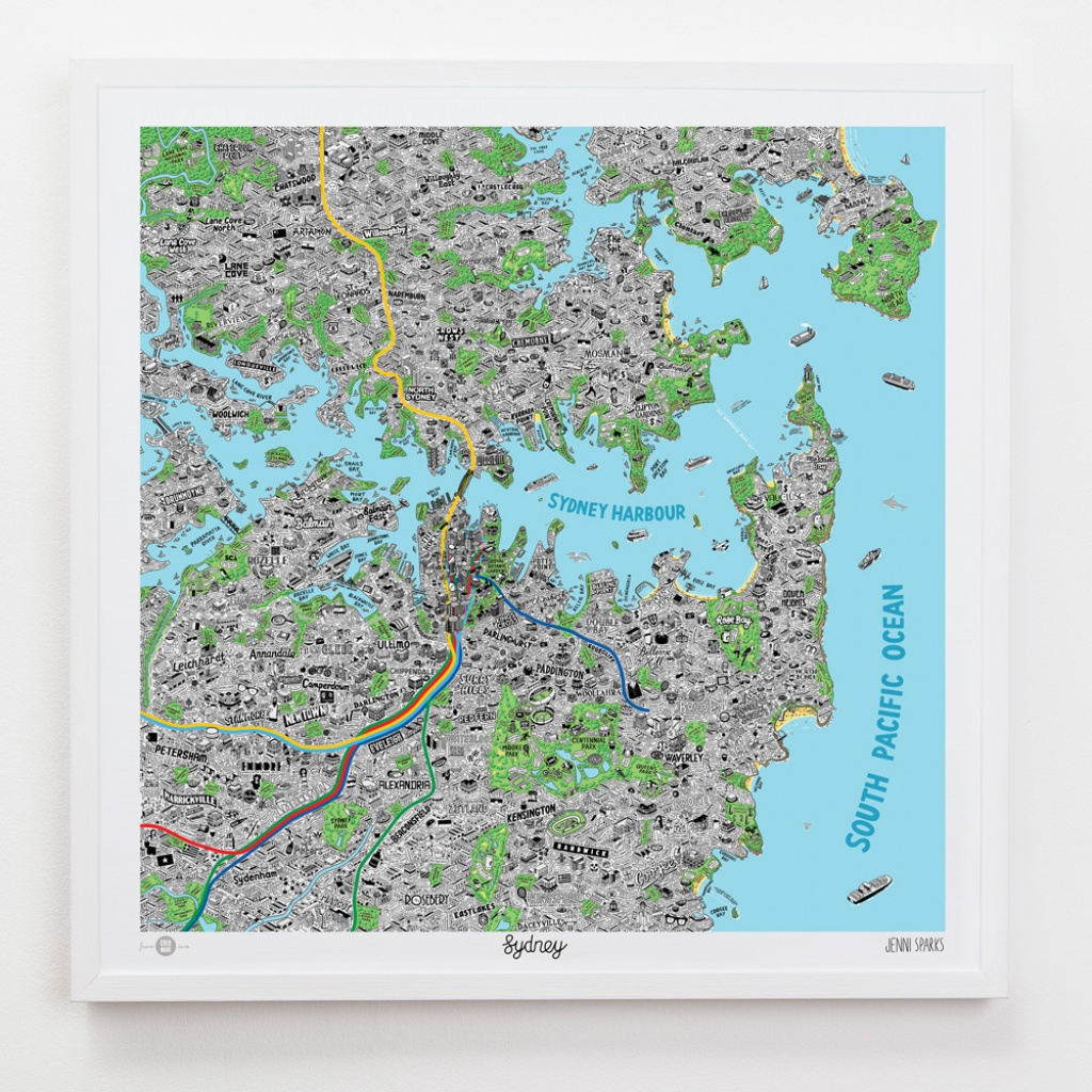 Hand Drawn Map Of Sydney Art Print | Art Prints, Stationery & Gifts - Printable Map Of Sydney