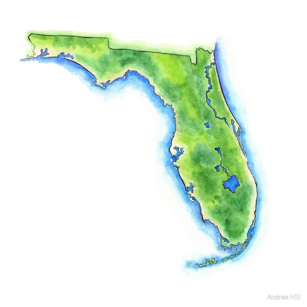 """Hand Painted Watercolor Map Of The Us State Of Florida """"andrea - Watercolor Florida Map"""