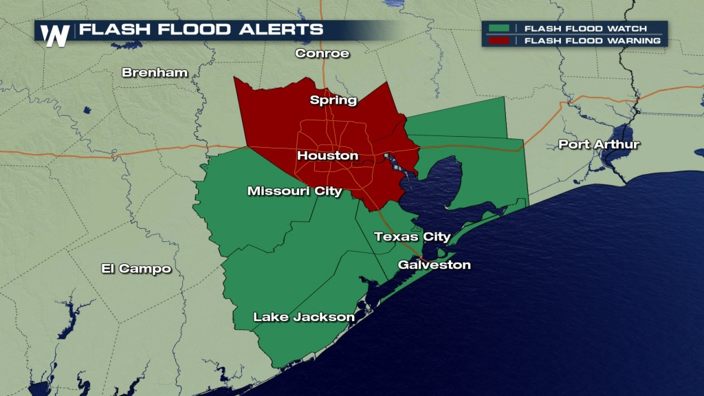Happening Now: Heavy Rain, Flooding Threatening Houston & Southeast - Spring Texas Flooding Map