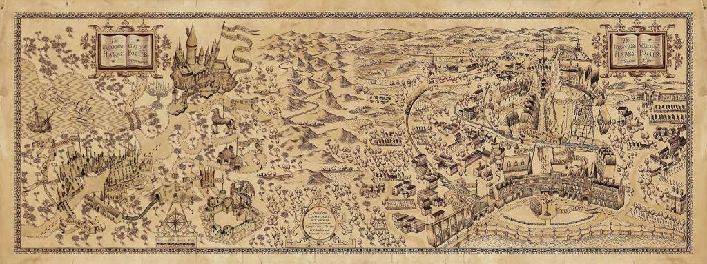 Harry Potter Map - Great Shading, Trees, Cool Flags, Dragon, Rows Of - Hogwarts Map Printable