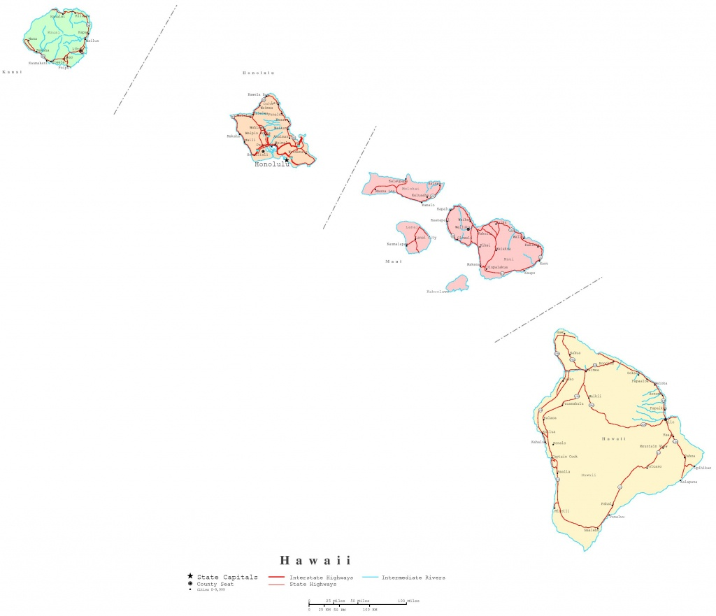 Hawaii Printable Map - Printable Map Of Hawaiian Islands