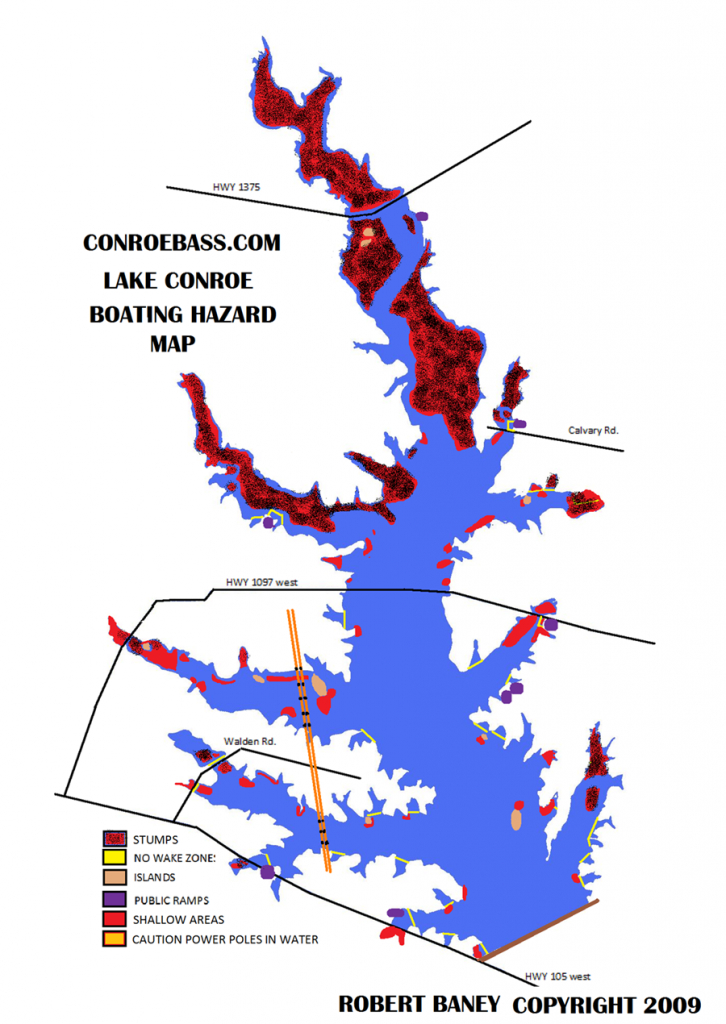 Hazard Map | Lake Conroe Texas | Kayaking | Texas, Our Texas - Texas Fishing Maps
