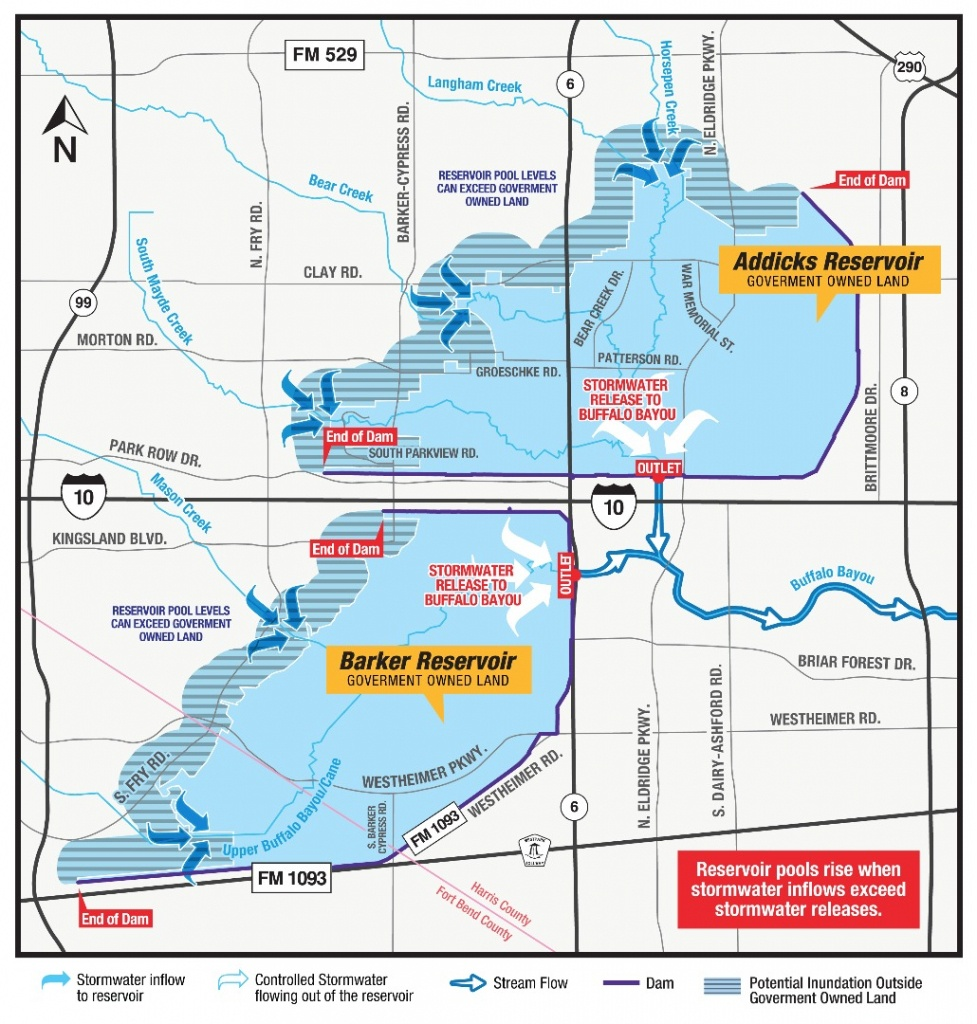 Hcfcd - Controlled Releases On Addicks And Barker Reservoir Increase - Barker Texas Map