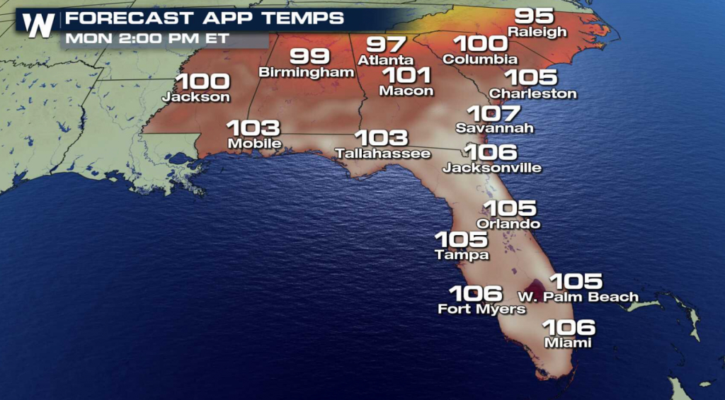 Heat Builds Along The Gulf Of Mexico - Weathernation - Florida Heat Index Map