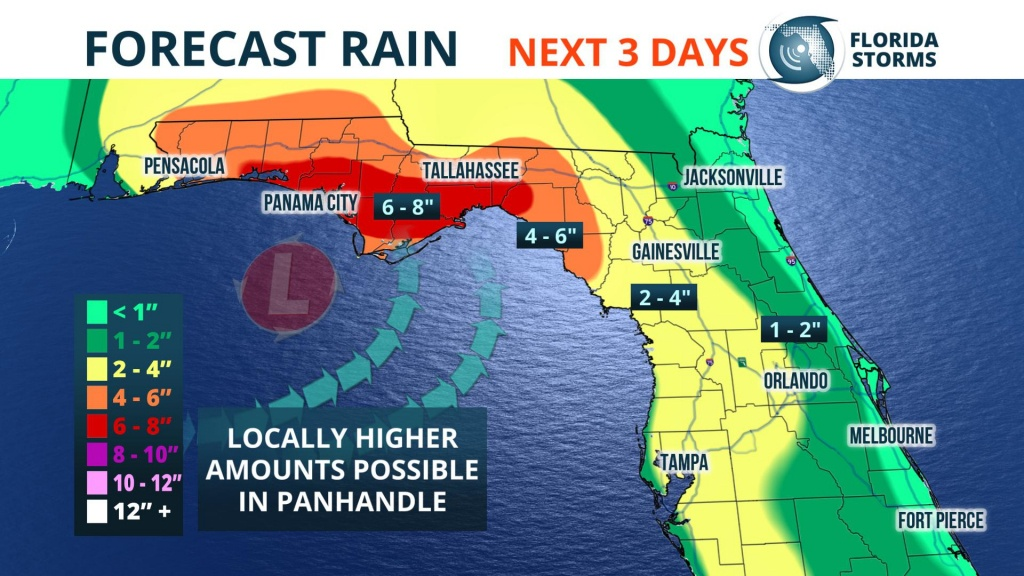 Heavy Rain, Possible Flooding This Weekend - Florida Storms - Map Of Florida Panhandle Gulf Coast
