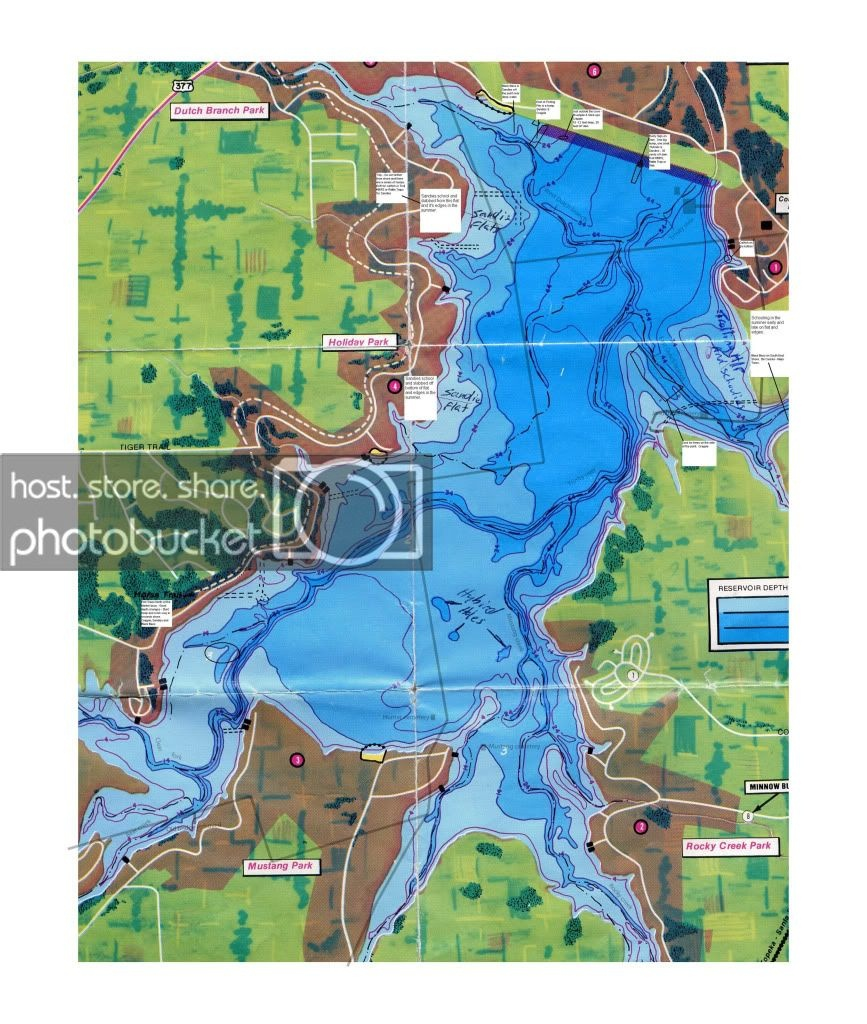 Here's A Depth Map With Under Water Roads Of Benbrook Lake - Texas - Texas Lake Maps Fishing