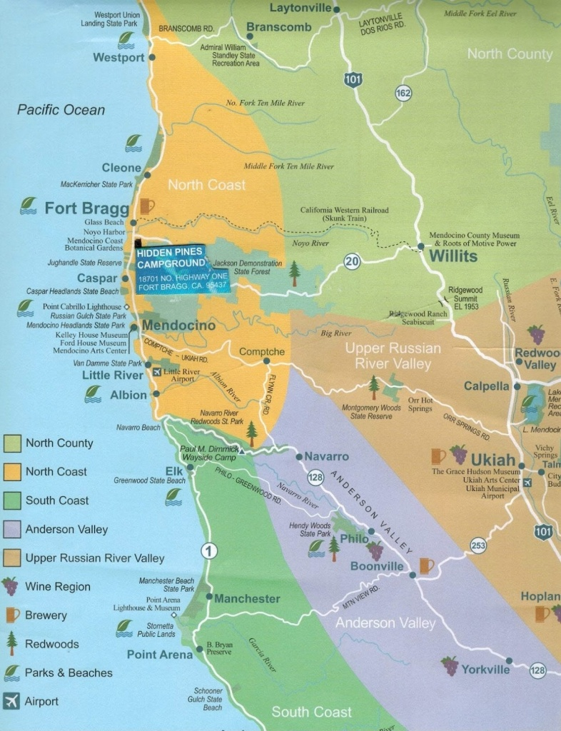 Hidden Pines Rv Park Campground – Fort Bragg California : June 2012 - Camping Northern California Coast Map