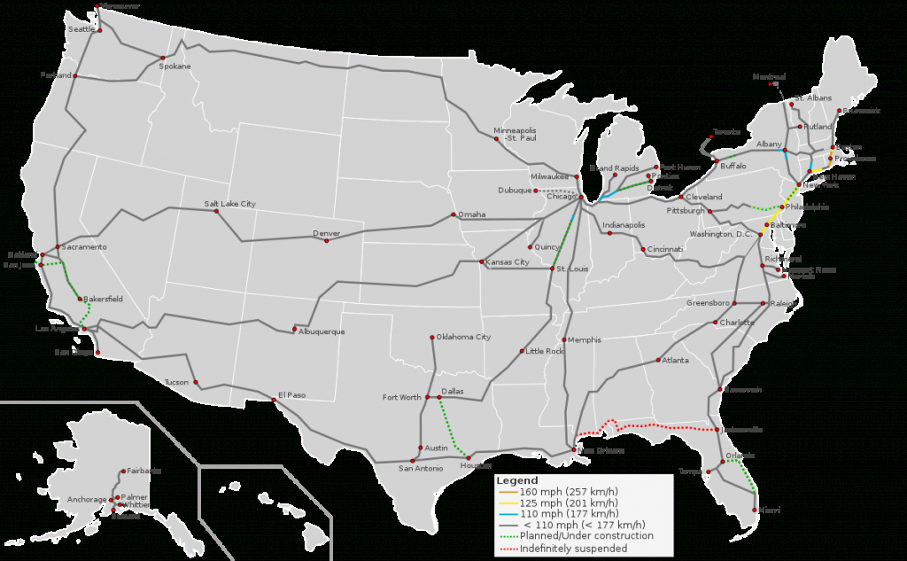 High-Speed Rail In The United States - Wikipedia - Texas High Speed Rail Map